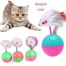 Mouse Tumbler Ball Cute Plastic Kitten Game Long Feather Cat Toy Pet HOT