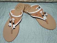 New WOMENS JACK ROGERS 7 ALANA WHITE CORK TASSEL SANDALS SHOES