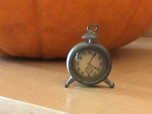 """1930s DOLL HOUSE ALARM CLOCK metal with glass face 1"""" made in Germany"""