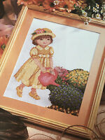 CROSS STITCH CHART Little Girl with Watering Can Picture Design PATTERN ONLY
