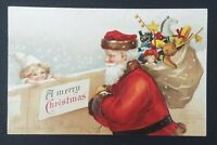 Vintage Ellen Clapsaddle SANTA CHILD TOYS Embossed Unused Undivided Postcard PC