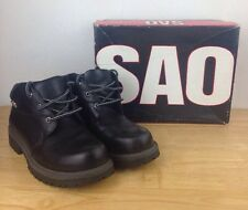 Sao Men's Black Leather Mid Ankle Boots. Size 8 Used Work Boots