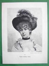 LOVELY MAIDEN Czech Girl Viola - VICTORIAN Era Original Engraving