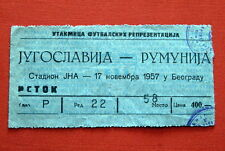 YUGOSLAVIA ROMANIA ORIGINAL FOOTBALL TICKET 1957