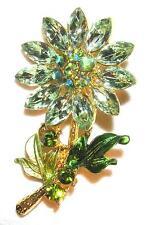 BROOCH/PIN Brilliant Colors Rhinestones & Enamel LIGHT GREEN COLOR FLOWER