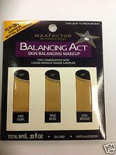 Max Factor Balancing Act Liquid Makeup Shade Sampler FOR LIGHT TO MEDIUM SKIN.