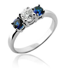 1.00 CARAT THREE STONE WHITE GOLD SOLID SETTING DIAMOND / BLUE SAPPHIRE RING