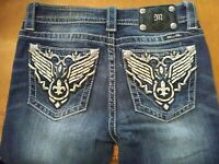 New Women's MISS ME Embellished Angel Wing Pocket Boot Cut Denim Jeans Sz 27