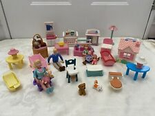 Dollhouse furniture mixed lot People Fisher Price Baby Crib Musical lights Up ++