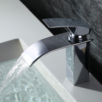 Chrome Waterfall Bathroom Vanity Sink Faucet Brass Single Hole Basin Mixer Tap