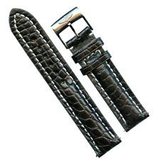 GENUINE MB ALLIGATOR BLACK STRAP 20mm LEATHER & GENUINE STEEL BREITLING BUCKLE