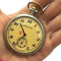 Vintage Pocket Watch MOLNIJA Ship Cupronickel Mechanical Russian Collectible SU