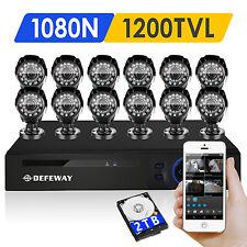 DEFEWAY 16CH 1080N HDMI DVR 12CH 1500TVL Outdoor Home Security Camera System 2TB