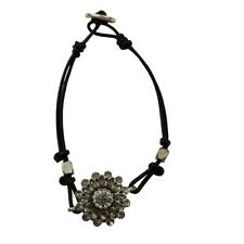 Fossil Bracelet Rhinestone Floral Cord Wrap Silver Tone Gray Black Knot Adjust