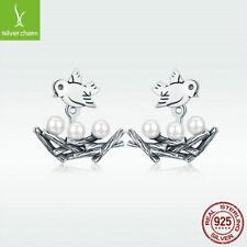 925 Sterling Silver Pearl Stud Earrings Swallow Family With Nest Pendant Earring