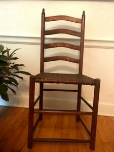 Antique Ladder Back Wicker Seat Shaker Chair from Pennsylvania