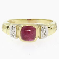 Estate 14k Yellow Gold 1.21ctw Cabochon Ruby Solitaire Ring w/ 4 Diamond Accents