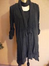 Damen Bluse Shirt mit Schal  Gr. 40/42 Antracit/Schwarz.