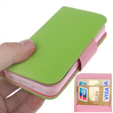 COVER PELLE per APPLE IPHONE 5 5S SE A LIBRO CUSTODIA VERDE ROSA A LIBRO +2 SLOT
