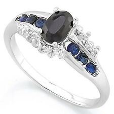 BLACK  BLUE SAPPHIRE DIAMOND SILVER RING 0.80 CWT EARTH MINED STONE HALLMARKED