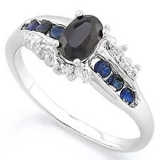 BLACK SAPPHIRE & BLUE SAPPHIRE SILVER RING 0.80 CWT EARTH MINED STONE