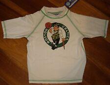 NEW Little Boys 5 6 Medium Boston Celtics Swim Shirt Rash Guard White NBA Store
