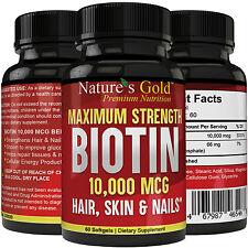 Biotin 10,000 mcg maximum strength (High Potency)Per Softgel Biotin Hair Growth