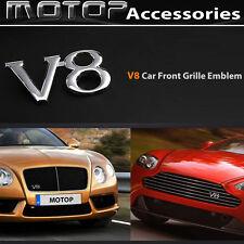 V8 Logo 3D Metal Chrome Silver V8 Racing Front Hood Grille Badge Emblem