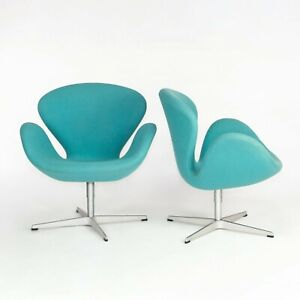 2004 Arne Jacobsen Swan Chairs by Fritz Hansen in Turquoise Hopsack Fabric