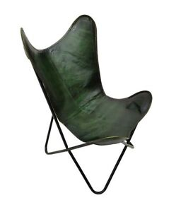 Genuine Green Leather Butterfly Chair Handmade Folding Chair Office Chair S6-28