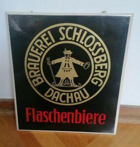 Altes Original Emailloid Schild Schlossberg Brauerei Dachau, Flaschenbiere, Bier