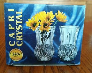 Capri 24% Lead Crystal Mini Vases Boxed Set of 2 Made in Italy 3 Inch