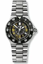 VICTORINOX SWISS ARMY WOMEN'S $425 STEEL, BLACK DIAL WATCH, MILITARY TIME 241417