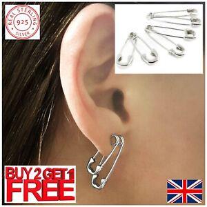 925 Sterling Silver Men Women Steam Punk Stud Ear Paper Clip Safety Pin Earrings