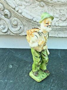 Antike Bisquit Porzellan Skulptur Lindgrün Orange bemalt Kaminholz besorgt