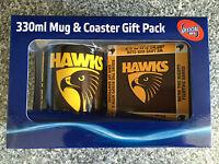 BNIB Genuine Hawthorn Merchandise Hawks Logo Print Ceramic Coffee Mug & Coaster