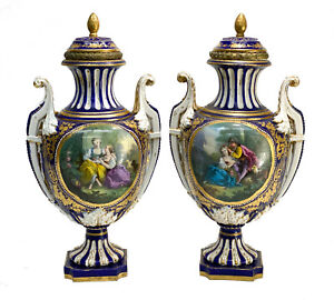 Pair Sevres France Porcelain Twin Handled Covered Urns, 19th C. Courting Scenes