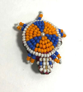 Beaded Turtle Pin Leather Under Brooch Blue Orange White