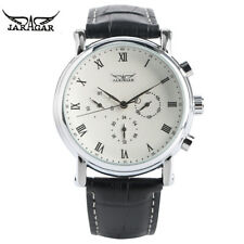 JARAGAR Fashion Mens Watches Automatic Mechanical Movement Genuine Leather Band