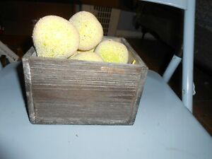 Wooden crate box with 10 faux fake shiny sparkly pears fruit