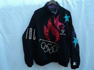 Vtg Starter Jacket 1996 Atlanta Olympics Black Purple Full Windbreaker Size XL