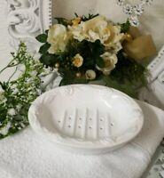 Seifenschale 2 tlg. Seife Schale Roses Weiß Bad Badezimmer Landhaus Shabby