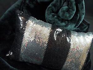 DESIGNER CUSHION BLACK SILVER GOLD CIRCLES AQUA BROWN SEQUINS  40 50  60 CM  NEW
