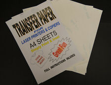 5x A4 Laser & Copier T Shirt Thermal Transfer Paper Sheets For Light Fabrics