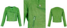 NEW Womens Faux SUEDE Belted Biker Green JACKET Side Zipped Crop Ladies Bomber