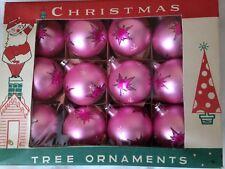 BOX 12 Vintage Pink Poland Glass Christmas Ornaments GLITTER STARS FANTASIA 1950