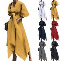 Womens Casual Plain Half Sleeve Dresses Asymmetric Bandage Wrap Maxi Dress Comfy