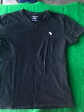 ABERCROMBIE & FITCH Men Black V-Neck Short Sleeve Muscle T-Shirt Sz Small