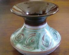 STUDIO POTTERY EARTHENWARE VASE BROWN AND TURQUOISE