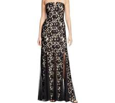NEW Womens Size 0 Aqua Long Formal Dress Black Lace & Mesh  Strapless or Strap